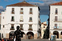 Rodin sculptures exhibition, main square in Caceres old town,Extremadura, Spain