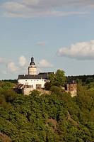 Falkenstein Castle, View from Selkesicht to Selke valley Selketal, Harz District, Harz, Saxony_Anhalt, Germany / Burg Falkenstein, Blick von der Selke...