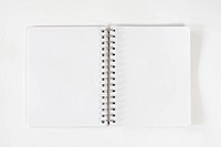 Blank open notepad or notebook with spiral ring binder, pages open