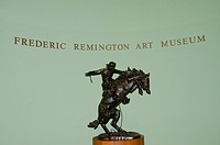 New York State, Ogdensburg. Frederic Remington Museum. Remington bronze in gallery.