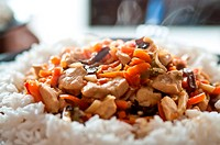 chinese food chicken with vegetables with rice