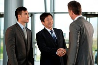 Multiracial businessmen shaking hands