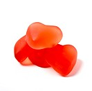 heart shape Valentine jelly Sweets from low perspective isolated on white.