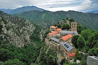 The Saint_Martin_du_Canigou abbey at Casteil in the Pyrenees, France
