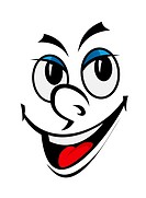 Cartoon funny face with smile for comics design