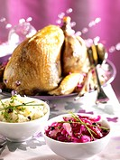 Roast guinea_fowl with red cabbage and cauliflower