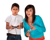 Latino siblings battle in video games on white background