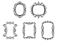 Set of vintage frames in victorian style for design