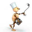 wood man cook 3d rendered for web