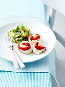Steam_cooked fish fillet and red pepper rolls,mashed potatoes with rocket