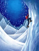 Illustration, painting, snowy landscape, mountain, ice climbing