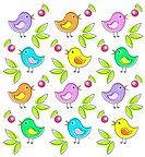 Pattern with cute birds
