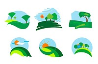Colorful isolated nature icons for design and decoration