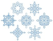 Set of snowflakes for design isolated on white