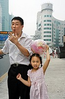 Father and daughter, Pudong, Shanghai, China.