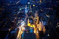 Nanjing Road at Night, Pudong on the background, Shanghai, China