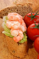 home baked bread with fresh organic prawns