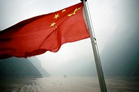 China Flag, The Three Gorges, Yangtze River, China.