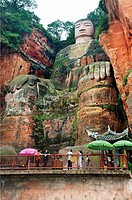 The Leshan Giant Buddha, which at 71 m or 233 ft is the largest stone Buddha in the world, Leshan, Sichuan Province, Dadu river a tributary of the Yan...