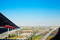 Visitors riding world´s fastest roller coaster, Formula Rossa, at Ferrari World , Abu Dhabi, United Arab Emirates, Middle East.