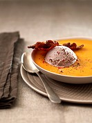 Pumpkin soup with bacon and almond_flavoured ice cream