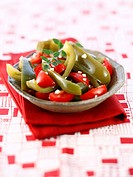 Tomato and pepper salad with coarse salt