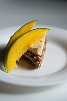 Almond Cake with Sliced Mango