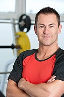 Close up of man smiling in gym