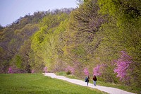 Two women walk along the Steamboat Trace trail near Brownville, NE.