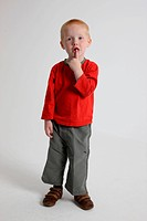 Studio portrait of small boy