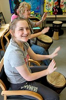 Drumming class for people with learning disabilities