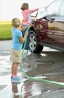 Girls washing car