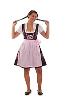 Women in dirndl pulls her pigtails,