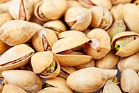 Closeup of roasted pistachio nuts