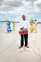 Dancing on the beach, Hotel Occidental Royal Hideaway Ensenachos, Cayo Ensenachos, near Cayo Santa Maria, Cayerias del Norte, Cuba.