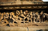 Erotic sculptures on Lakshmana Temple dedicated to Vishnu is built by chandella ruler Vasovarman Between 930-950 AD , Khajuraho, Madhya Pradesh, India...