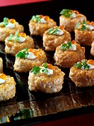 Seared salmon tartare Canapes