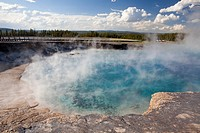 Excelsior geyser pool and boardwalk at yellowstone national park