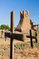Ruins of Old San Geronimo Church and graveyard, Taos Pueblo aka Pueblo de Taos, Taos, New Mexico, USAThe multi_storied adobe buildings at Taos Pueblo ...