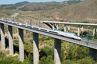 view of a high-speed train crossing a viaduct in Castejon de las Armas, to the right you can see the highway N-II, Saragossa, Aragon, Spain, AVE Madri...