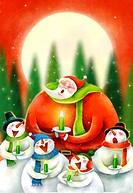 Feeling Of Fairy Tale Story Of Christmas, Santa And Snowmen Call Their Carol Song