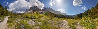 360° panoramic view at the Adolf Munkel trail in the Geisler Group, Odle Mountains, Villnoess or Funes Valley, Dolomites, South Tyrol, Italy, Europe