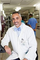 Smiling African American doctor in hospital