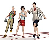 Women, competitors on a track or path, symbolic image for career, competition, illustration