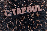 Luftansicht einer Großstadt in 3D mit Hochhäusern und dem Schriftzug Istanbul