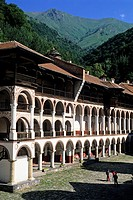 the courtyard and the arked outer corridors of Rila Monastery, Bulgaria, Europe