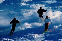 Trio of Skiers on the Slopes