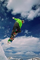 Snowboarder Soaring in Air