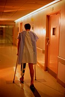 Patient Walking with Crutches