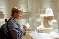 Student Studying Egyptian Art in the Brooklyn Museum